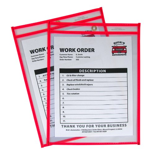 - C-Line Neon Stitched Shop Ticket Holders, Red, Both Sides Clear, 9 x 12 Inches, 15 per Box (43914)