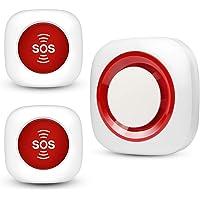 Kit Sistema de Alarma Inalámbrico de Llamadas de Buscapersonas para Cuidadores 2 Botones de SOS Llamada/Transmisores 1…