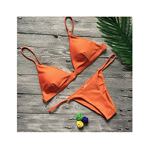 Vertvie Women Sexy Swimsuits 2 Piece Beach Swimming Suits Bikini Push Up Bikini Sets Solid Sexy Swimwear,Orange,M
