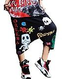 Womens Capri Pants Baggy Cranky Girl HIP-HOP Boyfriend Graffiti Skull