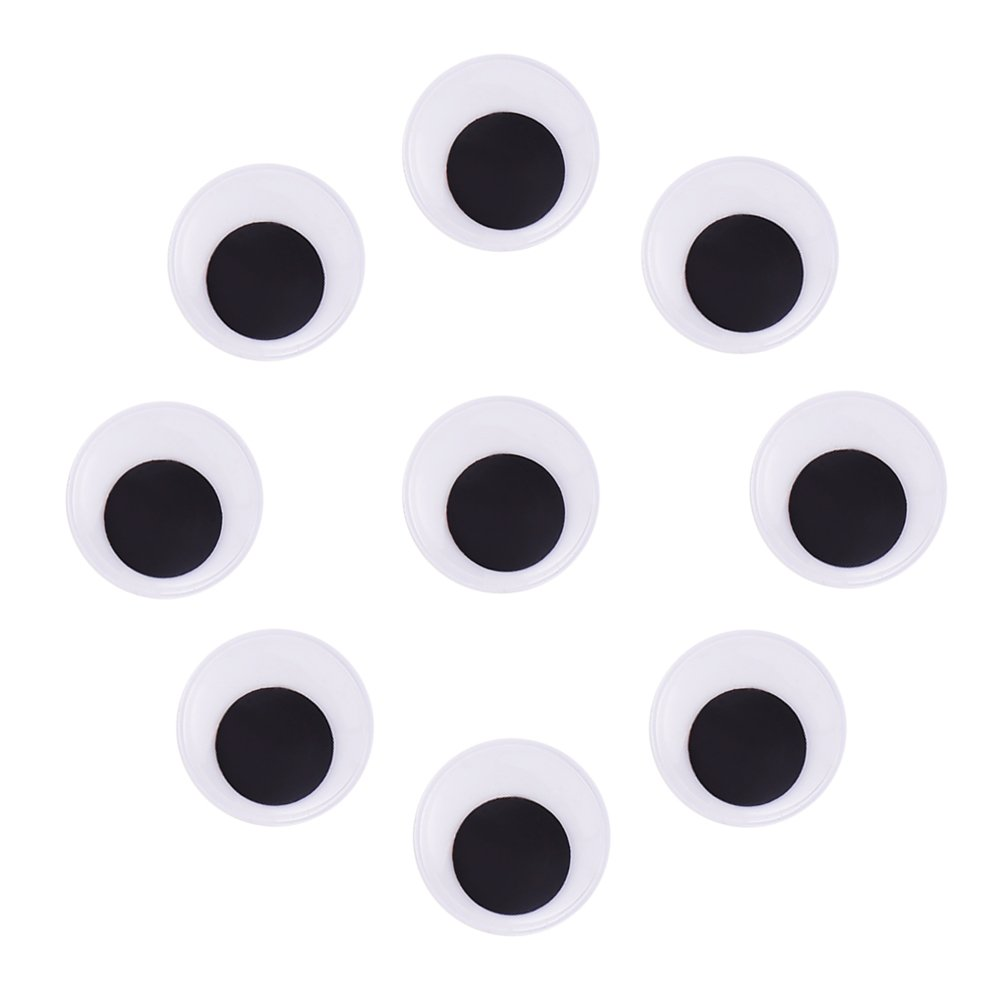 DECORA 40mm Round Wiggle Googly Eyes with Self-adhesive Peel and Stick Pack of 120 Pieces