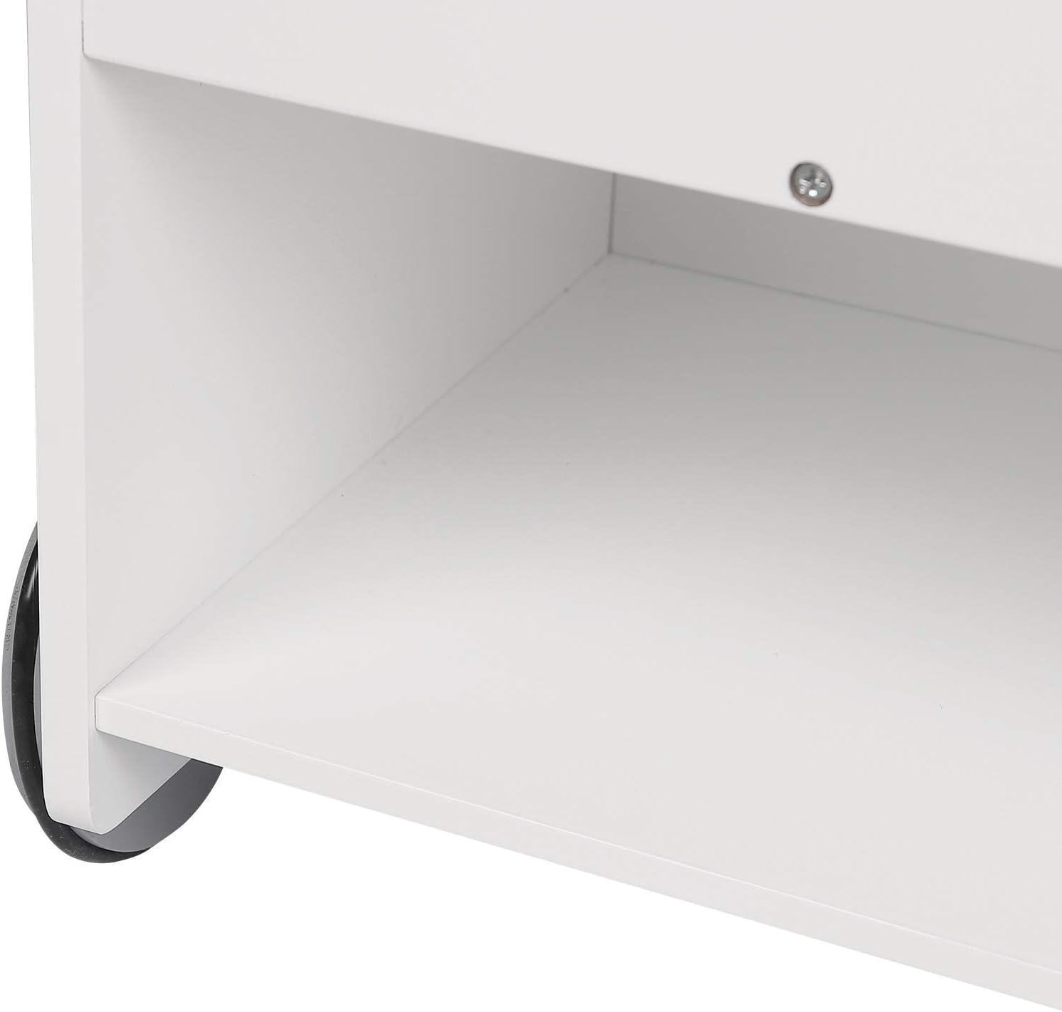 Bianco 62x42x57cm KR002 Scaffale Porta Giochi con Contenitore e Ruote WOLTU Libreria Piccola in Legno per Bambini Organizzatore per Cameretta
