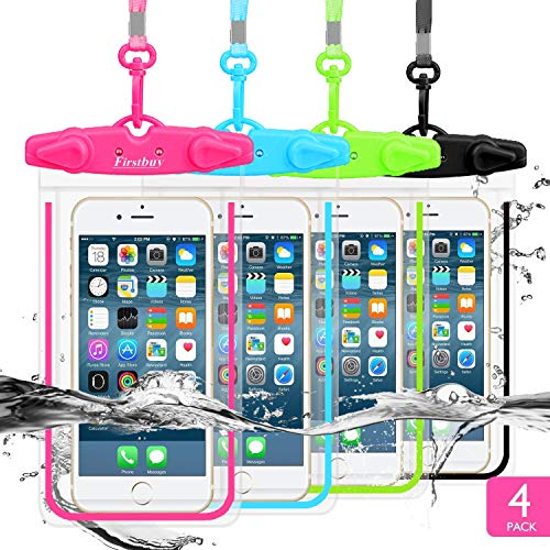 LENPOW Waterproof Phone Case, 4 Pack Universal Waterproof Pouch Dry Bag with Neck Strap Luminous Ornament for Water…