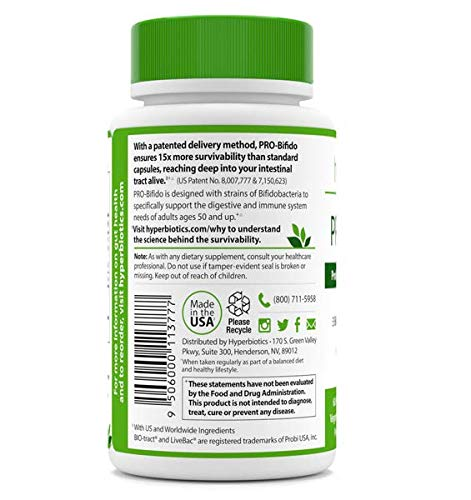 PRO-Bifido Probiotics: Targeted Support for Ages 50+ (Bifidobacterium) 15x More Effective than Probiotic Capsules with Patented Delivery Technology – 60 Time Release Tablets