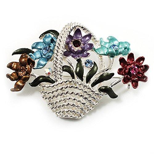 Avalaya Fancy Enamel Multicoloured Flower Basket Brooch (Silver Tone)