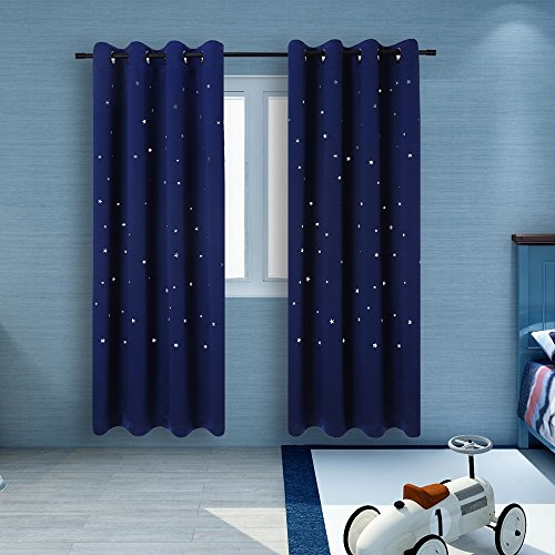 2 Panels Twinkle Star Kids Room Curtains with 2 Tiebacks, BUZIO Thermal Insulated Blackout Curtains with Punched Out Stars, Drapes for Space Themed Nursery and Bedroom (52 x 63 Inches, Royal Blue) -