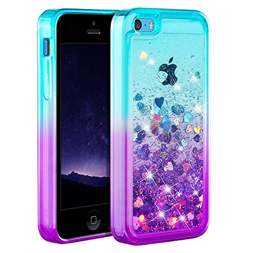 Ruky iPhone 5c Case, Gradient Quicksand Series Glitter Flowing Liquid Floating Protective Shockproof Clear TPU Girls Case for iPhone 5c (Teal Purple)