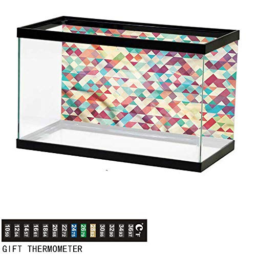 bybyhome Fish Tank Backdrop Abstract Triangle,Colorful Diamond,Aquarium Background,24