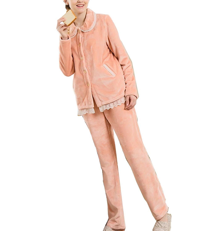 VECJUNIA Womens Pyjamas Set Lapel Pocket Bathroom Single-breasted Sleepwear Pyjamas Orange XL