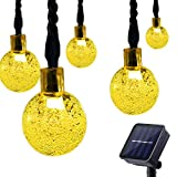 Lalapao Solar Powered Globe Outdoor Lights 30 LED 19.7ft Crystal Ball Christmas Fairy String Light for Home Decor Indoor Xmas Tree Garden Path Patio Lawn Holiday Wedding Party (Warm White)