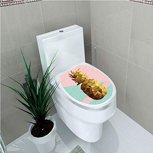 Toilet Custom Sticker,Indie,Retro Summer Concept Pineapple Fruit in Poly Design Memphis,Light Pink Mint Green Light Brown,Diversified Design,W11.8