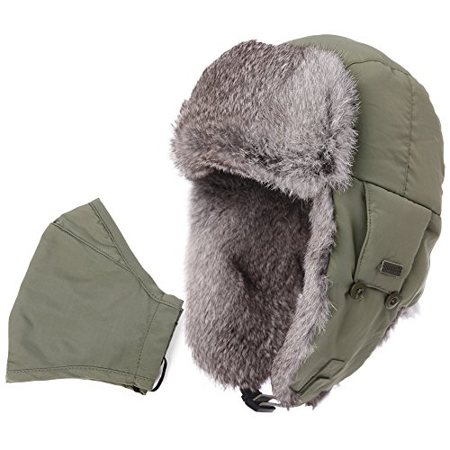 SIGGI Earflap Hat Women Trooper Trapper Hat 100% Rabbit Fur Lined White Russian Hats Ushanka Army Green