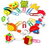 Paper Clips Small, 1.6 × 1.18inch, Random Color,12-Count Cute Animal Shape Paper Clamps for Kids Boys Girls Adults, for Office and Personal Document Organization (Random)