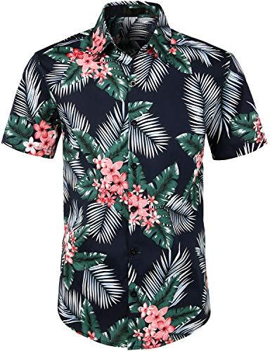 JOGAL Men's Cotton Button Down Short Sleeve Hawaiian Shirt XX-Large NavyPalmLeaf]()