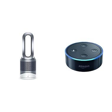 Dyson Pure Hot Cool Link + Echo Dot Bundle, White Purifier Black Echo Dot