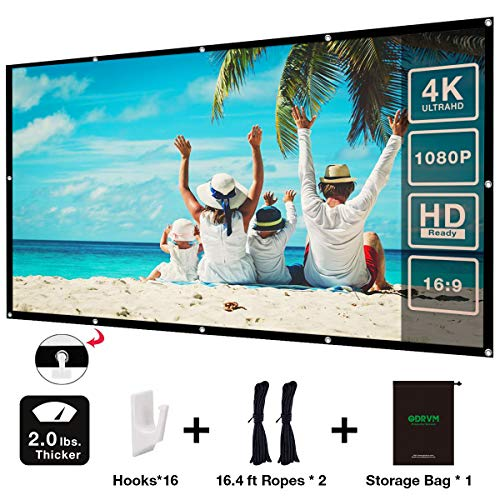 ODRVM 100 inch Projector Screen 16:9 HD Anti-Crease Portable Easy to Install Outdoor Movie Screen with Storage Bag for Office Presentation and Home Theater Double Sides Projection
