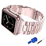 Apple Watch Band, iitee 38mm iWatch Band Stainless Steel Replacement Strap for Apple Watch - Rose Gold