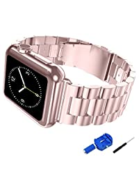 Apple Watch Band, iitee 42mm iWatch Stainless Steel Replacement Band Strap for Apple Watch - Rose Gold (42mm rose gold)