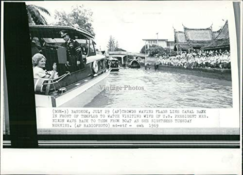 1969 Wire Photo Politics Richard Nixon President Bangkok Thailand Canal 8X10