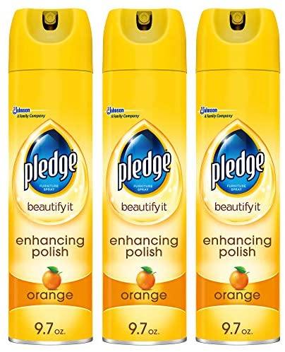 Pledge Multi-Surface Furniture Polish Spray, Works on Wood, Granite, and Leather, Shines and Protects, Orange, 9.7 ounces - Pack of three