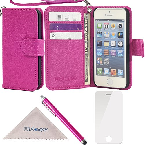iPhone SE 5s 5 Case, Wisdompro Premium PU Leather 2-in-1 Protective [Folio Flip] Wallet Case with Multiple Credit Card Holder Slots and Wrist Lanyard for Apple iPhone SE/5s/5 (Hot Pink)