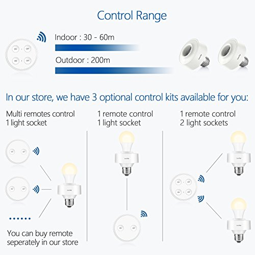 LoraTap Wireless Remote Control E26 E27 Light Socket Kit 656ft 915MHz Range On Off Switch for LED Bulbs and Fixtures, 5 Years Warranty (1pc Light Switch + 2pcs LED Lamp Holders) by LoraTap (Image #3)