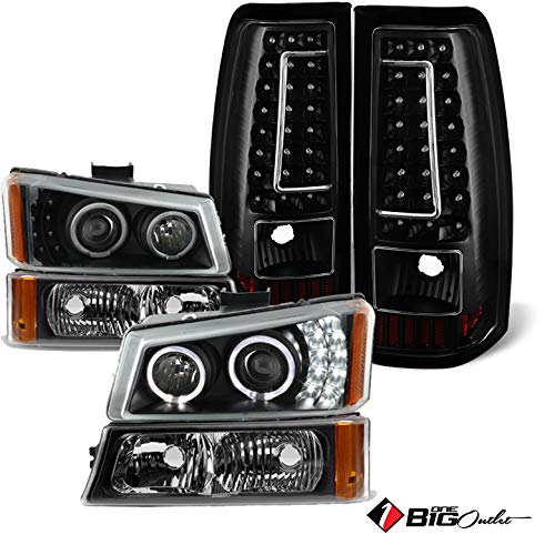 Projector Headlights Set - Xtune for 2003-2006 Chevy Silverado Black Halo Projector Headlights Set + Ver2 LED Tail Lights Combo 2004 2005