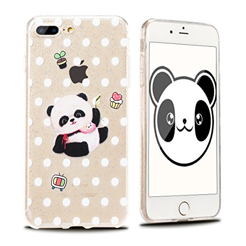 Funda iPhone 7 Plus / 8 Plus Suave Transparente Delgado Gel Silicona TPU Case para Apple iPhone 8 Plus / 7 Plus 5.5 E-Lush Cristal Blanda Protectora Cover Caja [Flash point] Claro Flexible Absorción  Panda