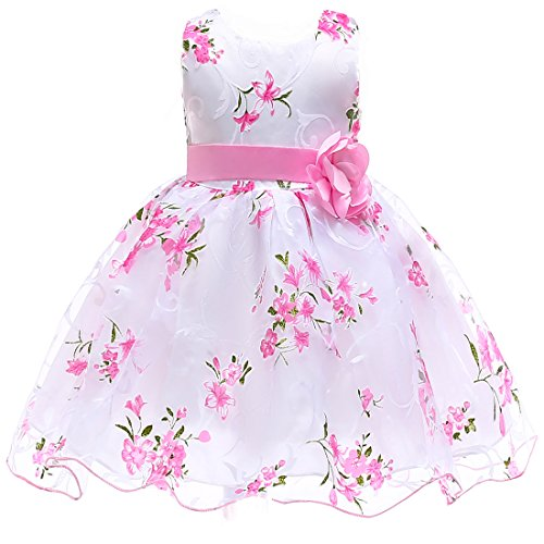 Berngi Summer Kids Clothes Baby Girls Flower Princess Dress for Wedding Party Toddler Girl Children Clothing (White, 6-7Years) -
