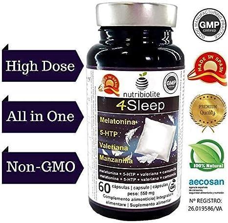 4Sleep - Melatonina Pura 1,0 mg + 5-HTP 1250 mg Griffonia ...