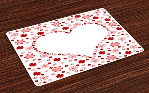 Valentines Day Place Mats Set of 4 by Lunarable, Flowers Floral Print with Heart Shape in the Middle Romantic Image, Washable Placemats for Dining Room Kitchen Table Decoration, Pink Red - Flowers Shape Heart In