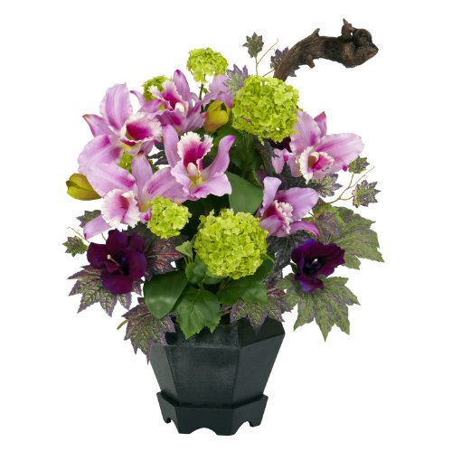 Nearly Natural 1257 Mixed Cattleya and Hydrangea Silk Flower Arrangement, Pink ()