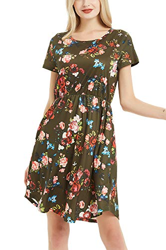 NICIAS Women Floral Short Sleeve Tunic Vintage Midi Casual Dress with Pockets Army Green -