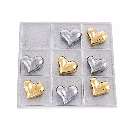 EliteCrafters Modern Handmade, Solid Aluminum & Brass Metal, Decorative Tic Tac Toe Board Game, Love Heart Design, Silver & Gold Colors, 13.8x13.8cm (5.4''x5.4'')