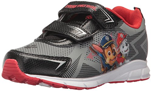 Nickelodeon Boys' Paw Patrol Double Velcro Strap Sneaker, Gray/Black, 7 Medium US (Double Strap Sneakers)