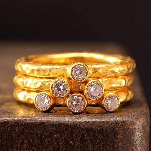 Hammered Artisan 24K Yellow Gold over 925 Sterling Silver Clear Cubic Zirconia Solitaire Stack Stackable Stacking Minimalist Birthstone Ring