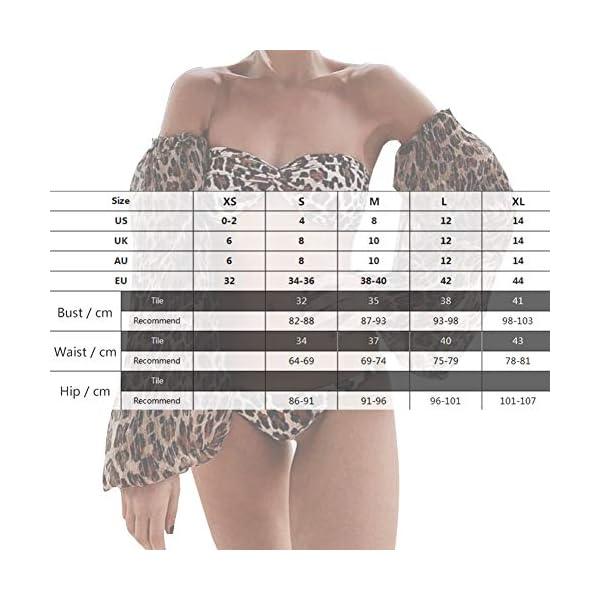 Costume da bagno da donna, sexy, con stampa leopardata, con 1 maniche, trasparenti, motivo leopardo, set moderno