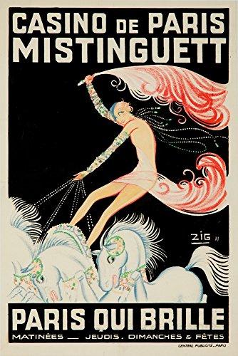 France - Casino de Paris - Mistinguett Paris Qui Brille - (artist: Zig c. 1931) - Vintage Advertisement (9x12 Art Print, Wall Decor Travel Poster) (Design Brillen)