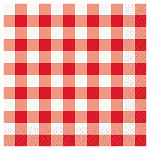 White Gingham Party Napkins 16ct