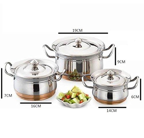 MAHAVIR ENTERPRISES Stainless Steel Cookware Set, 3 Piece  Multicolor