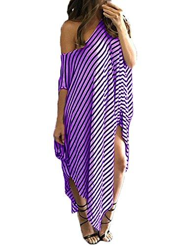 ZANZEA Women's One Off Shoulder Striped Irregular Long Maxi Dress Kaftan Dress Light Purple 2XL