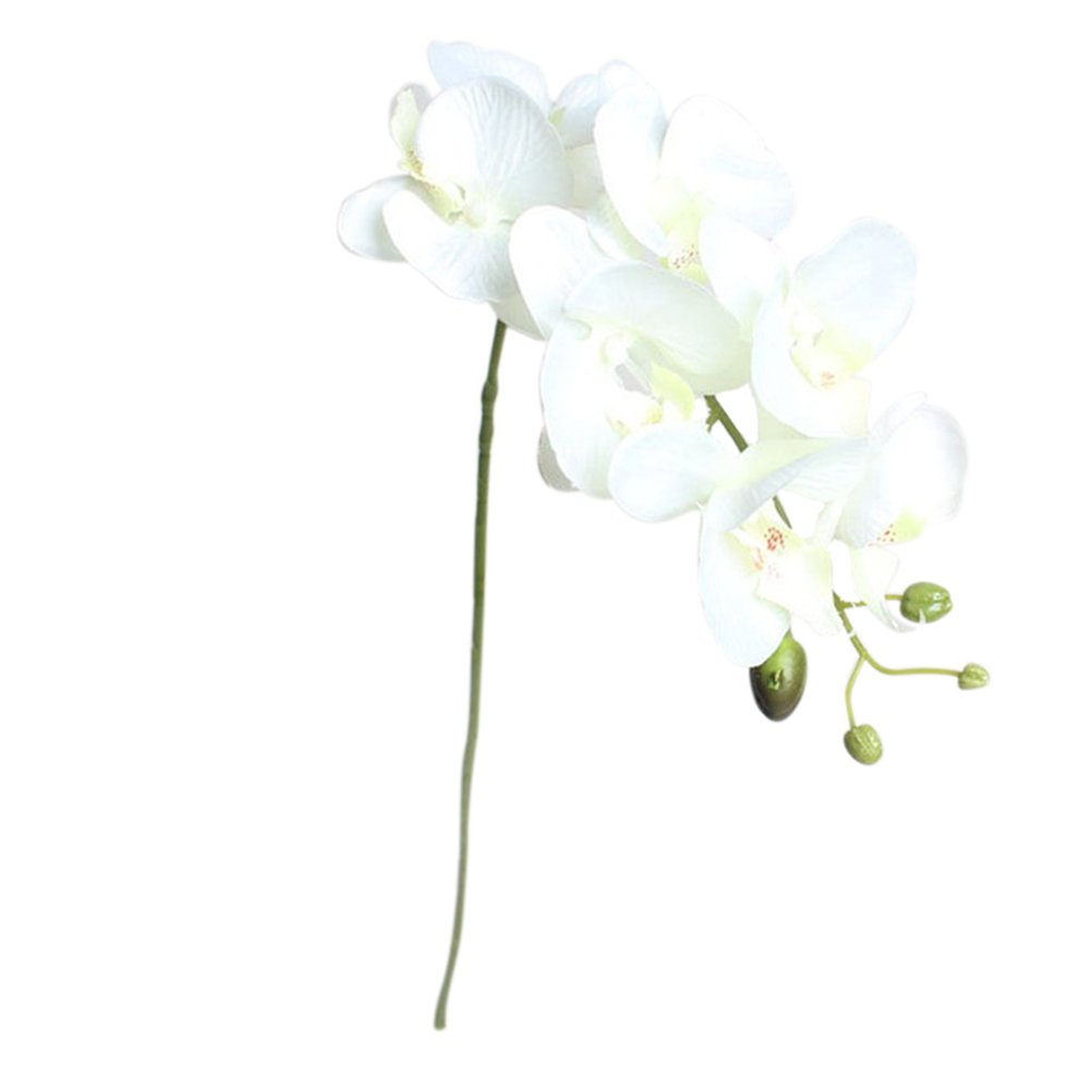 Freedi Artificial Butterfly Orchid Silk Flowers Bouquet For Home Bridal Wedding Party Table Centerpieces Decorations,1 Piece/7 Heads (White)