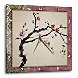 3dRose dpp_53105_3 Elegant Chinese Flowers Wall Clock, 15 by 15-Inch For Sale
