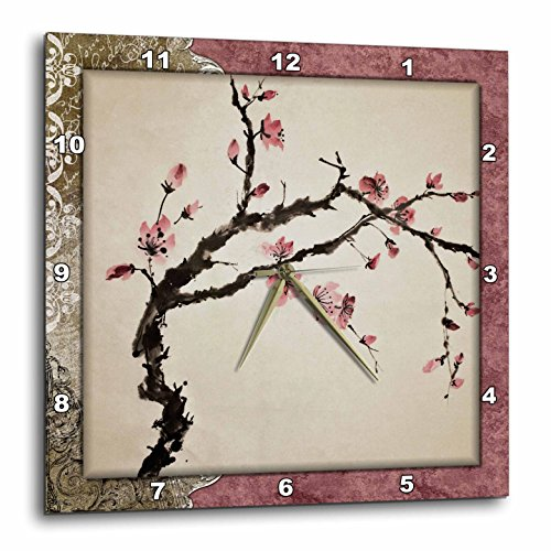 3dRose LLC Elegant Chinese Flowers 10 by 10-Inch Wall Clock