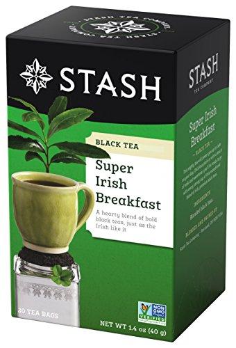 (Stash Tea Super Irish Breakfast Black Tea 20 Count Tea Bags in Foil (Pack of 6) Individual Black Tea Bags for Use in Teapots Mugs or Cups, Brew Hot Tea or Iced Tea)