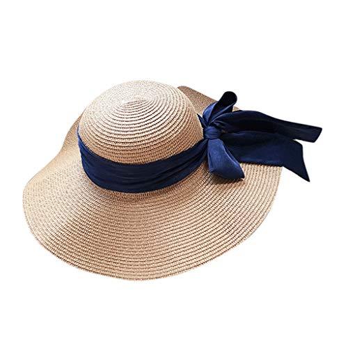 Price comparison product image BCDshop Women Straw Sun Hat Wide Brim Foldable Floppy Cap Travel Holiday Beach Cap with Ribbon (Khaki)
