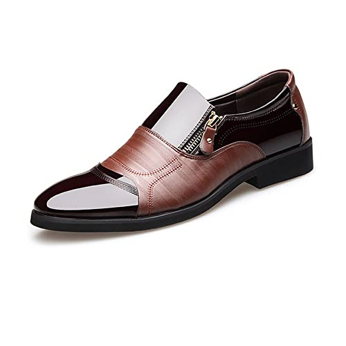 22464dfcb Men s Business Shoes Smooth PU Leather Splice Zipper Decoration Slip-on  Breathable Mesh Oxfords (Color   Brown