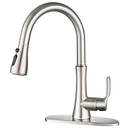 WOWOW Pull Down Kitchen Faucet Single Handle High Arc Brushed Nickel  Kitchen Sink Faucets with Pull Out Sprayer Head Commercial Stainless Steel  ...