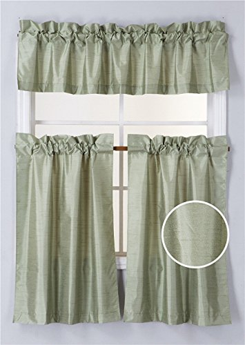 Green Kitchen Curtain - Elegant Home Collection 3 Piece Solid Color Faux Silk Blackout Kitchen Window Curtain Set with Tiers and Valance Solid Color Lined Thermal Blackout Drape Window Treatment #K3 (Sage Green)