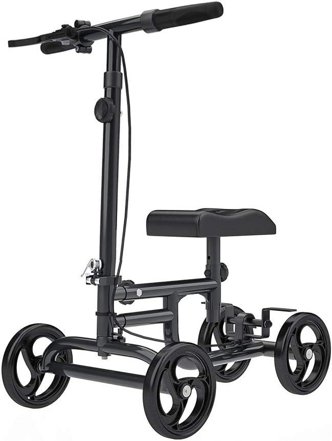 ELENKER Economy Knee Walker Steerable Medical Scooter Crutch Alternative Black 51ZlvoQIJOLSL1001_